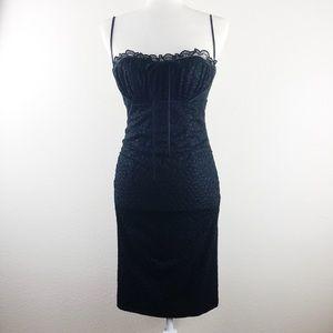Betsey Johnson Black Lace Trim Bow Bodycon Dress